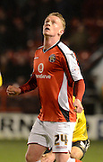 Goalscorer Ashley Grimes during the Sky Bet League 1 match between Walsall and Sheffield Utd at the Banks's Stadium, Walsall, England on 17 March 2015. Photo by Alan Franklin.