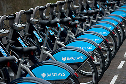 © Licensed to London News Pictures.13/12/2013. London, UK. Barclays bicycles are docked at Wandsworth Town station where Mayor of London, Boris Johnson launched the south west expansion of the Barclays Cycle Hire into Hammersmith & Fulham and Wandsworth.Photo credit : Peter Kollanyi/LNP