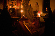 Sveti Jovan monastery in Velika Hoca during Midnight Mass on Christmas Eve. Father Davide....Orthodox Christmas (January 7) in the Serbian village of Velika Hoca, Kosovo.