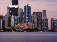 MIAMI, FLORIDA - CIRCA APRIL 2017: View of Biscayne Bay and Brickell Key from Key Biscayne in Miami