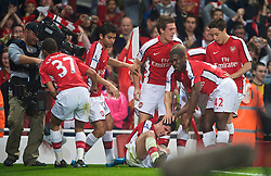 LONDON, ENGLAND - Wednesday, October 28, 2009: Arsenal's Fran Merida celebrates the opening goal against Liverpool during the League Cup 4th Round match at Emirates Stadium. (Photo by David Rawcliffe/Propaganda)