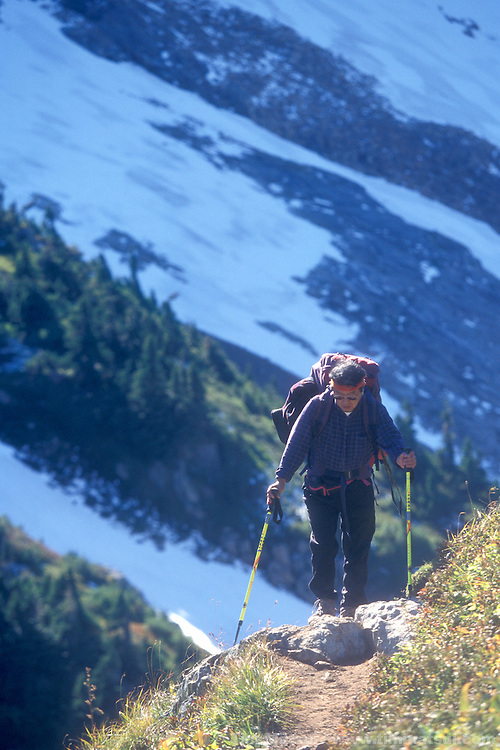 Backpacking up Sahale Arm from Cascade Pass in the North Cascades National Park.