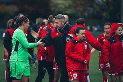 Bristol City Women Manager Willie Kirk congratulates Caitlin Leach of Bristol City Women - Rogan Thomson/JMP - 06/11/2016 - FOOTBALL - The Northcourt Stadium - Abingdon-on-Thames, England - Oxford United Women v Bristol City Women - FA Women's Super League 2.