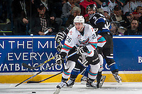 KELOWNA, CANADA - APRIL 17: Cole Linaker #26 of Kelowna Rockets passes the puck against the Victoria Royals on April 17, 2016 at Prospera Place in Kelowna, British Columbia, Canada.  (Photo by Marissa Baecker/Shoot the Breeze)  *** Local Caption *** Cole Linaker;