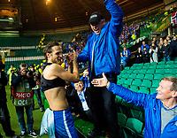 05/11/15 UEFA EUROPA LEAGUE GROUP STAGE<br /> CELTIC v MOLDE FK<br /> CELTIC PARK - GLASGOW<br /> Molde captain Daniel Hestad celebrates with the fans at full-time