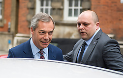 © Licensed to London News Pictures. 29/03/2018. London, UK. Former UKIP leader NIGEL FARAGE is seen leaving Milbank Studio's following an appearance on the BBC Daily Politics program. . Photo credit: Ben Cawthra/LNP