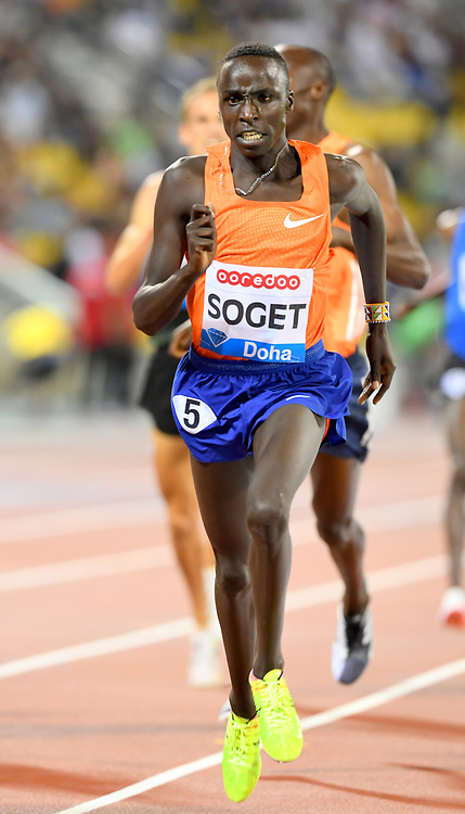 Justus Soget (KEN) places third in the 800m in 3:35.71 in the 2018 IAAF Doha Diamond League meeting at Suhaim Bin Hamad Stadium in Doha, Qatar, Friday, May 4, 2018. (Jiro Mochizuki/Image of Sport)