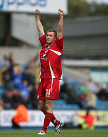 Photo: Rich Eaton.<br /> <br /> Millwall v Swindon Town. Coca Cola League 1. 29/09/2007. Swindon's Simon Cox, scorer of the first goal celebrates at the final whistle