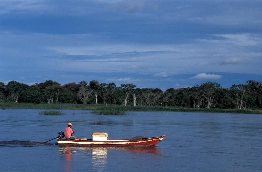 Boat on Rio Negro near Manaus, Amazonia, Brazil