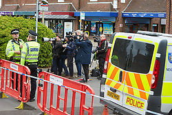 © Licensed to London News Pictures. 25/05/2015. DIDCOT, UK. Media at the scene in Vicarage Road, Didcot, where three bodies were found yesterday (Sunday). Police continue to search for Jed Allen in connection with the deaths. Photo credit : Cliff Hide/LNP