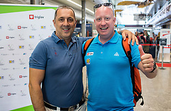 Damijan Lazar, president of ZSIS-POK and Nejc Visnikar, coach of Slovenian basketball deaf team before departure to 23rd Summer Deaflympics in Samsun, Turkey, on July 14, 2017 at Airport Joze Pucnik, Brnik, Slovenia. Photo by Vid Ponikvar / Sportida