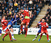 Gianvito Plasmati in action during the Sky Bet League 1 match between Gillingham and Leyton Orient at the MEMS Priestfield Stadium, Gillingham, England on 15 November 2014.