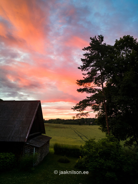 Old rural barn, evening light with clouds. Sky scenic, sunset. Trees.