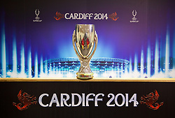 +++ FREE USE FOR STORIES PROMOTING THE UEFA SUPER CUP 2014 ONLY +++<br /> <br /> CARDIFF, WALES - Monday, February 17, 2014: The UEFA Super Cup trophy on display at the Cardiff City Stadium where the game will be played on 12th August. (Pic by David Rawcliffe/Propaganda)