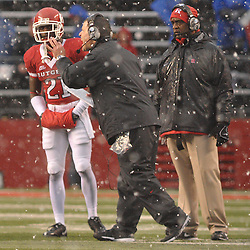 Dec 5, 2009; Piscataway, NJ, USA; Rutgers head coach Greg Schiano coaches cornerback Devin Mccourty (21) during second half NCAA Big East college football action in West Virginia's 24-21 victory over Rutgers at Rutgers Stadium.