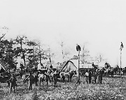 Telegraph construction camp during American Civil War 1861-1865 Photograph taken in the field.