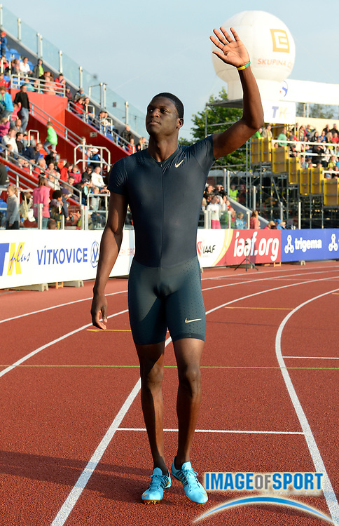 Jun 27, 2013; Ostrava, CZECH REPUBLIC; Kirani James (GRN) takes a victory lap after winning the 400m in 44.49 in the 52nd Ostrava Golden Spike meeting at Mestsky Stadion. Photo by Jiro Mochizuki