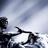 "Sculpture ""Heracles, the Cretan bull curbing"" by sculptor August Kriessmann in the Schwerin Castle Garden."