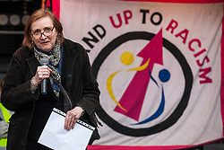 London, UK. 16th March, 2019. Emma Dent Coad, Labour MP for Kensington, addresses thousands of people on the March Against Racism demonstration on UN Anti-Racism Day against a background of increasing far-right activism around the world and a terror attack yesterday on two mosques in New Zealand by a far-right extremist which left 49 people dead and another 48 injured.