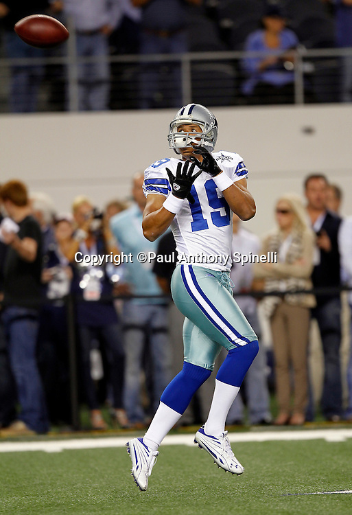 Dallas Cowboys wide receiver Miles Austin (19) catches a pregame pass during the NFL week 7 football game against the New York Giants on Monday, October 25, 2010 in Arlington, Texas. The Giants won the game 41-35. (©Paul Anthony Spinelli)
