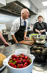 Pictured: Mr FitzPatrick was joined at the preparation table by Volunteer Donna McArdle<br /> <br /> New Public Health Minister Joe FitzPatrick visited Bridgend Inspiring Growth centre, Bridgend Farmhouse in Edinburgh to launch the Scottish Government's diet and healthy weight delivery plan. <br /> <br /> Mr FitzPartick joined volunteers to prepare some salad for today's lunch.<br /> <br /> Ger Harley | EEm Date