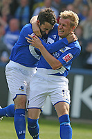 Photo: Pete Lorence.<br />Macclesfield Town v Notts County. Coca Cola League 2. 05/05/2007.<br />John Miles and Jamie Tolley celebrate Miles' goal..