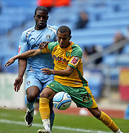 Coventry - Saturday, March 8th, 2008: Isaac Osbourne of Coventry City and Ryan Bertrand of Norwich City during the Coca Cola Championship match at the Ricoh Arena, Coventry. (Pic by Paul Hollands/Focus Images)