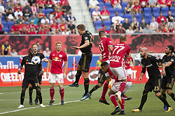 August 5, 2018 - Harrison, New Jersey, United States - Walker Zimmerman (25) of LAFC defends during regular MLS game against Red Bulls at Red Bull Arena Red Bulls won 2 - 1 (Credit Image: © Lev Radin/Pacific Press via ZUMA Wire)