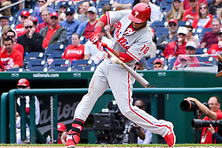May 6, 2018 - Washington, DC, U.S. - WASHINGTON, DC - MAY 06:  Philadelphia Phillies center fielder Pedro Florimon (18) at bat during the game between the Philadelphia Phillies and the Washington Nationals on May 6, 2018, at Nationals Park, in Washington D.C.  The Washington Nationals defeated the Philadelphia Phillies, 5-4.  (Photo by Mark Goldman/Icon Sportswire) (Credit Image: © Mark Goldman/Icon SMI via ZUMA Press)