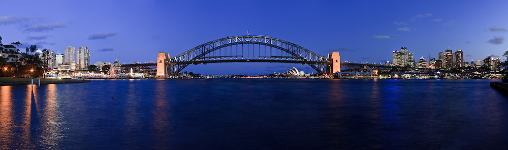 Panorama of Sydney Harbour, showing (from L to R), Luna Park,North Sydney, The Sydney Harbour Bridge, The Opera House and the CBD.