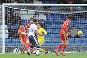 Bury Forward, Nicky Maynard (36) shoots  during the EFL Sky Bet League 2 match between Bury and Milton Keynes Dons at the JD Stadium, Bury, England on 12 January 2019.