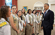 08.JUNE.2012. WASHINGTON D.C.<br /> <br /> PRESIDENT BARACK OBAMA TALKS WITH GIRL SCOUT GOLD AWARD WINNERS IN THE OVAL OFFICE, JUNE 8, 2012. THE AWARD IS THE HIGHEST ACHIEVEMENT IN GIRL SCOUTS.  <br /> <br /> BYLINE: EDBIMAGEARCHIVE.CO.UK<br /> <br /> *THIS IMAGE IS STRICTLY FOR UK NEWSPAPERS AND MAGAZINES ONLY*<br /> *FOR WORLD WIDE SALES AND WEB USE PLEASE CONTACT EDBIMAGEARCHIVE - 0208 954 5968*
