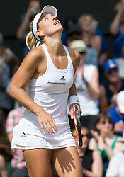 LONDON, ENGLAND - Thursday, July 7, 2016:  Angelique Kerber (GER) enjoys the moment after winning the Ladies' Singles - Semi-finals match on day eleven of the Wimbledon Lawn Tennis Championships at the All England Lawn Tennis and Croquet Club. (Pic by Kirsten Holst/Propaganda)