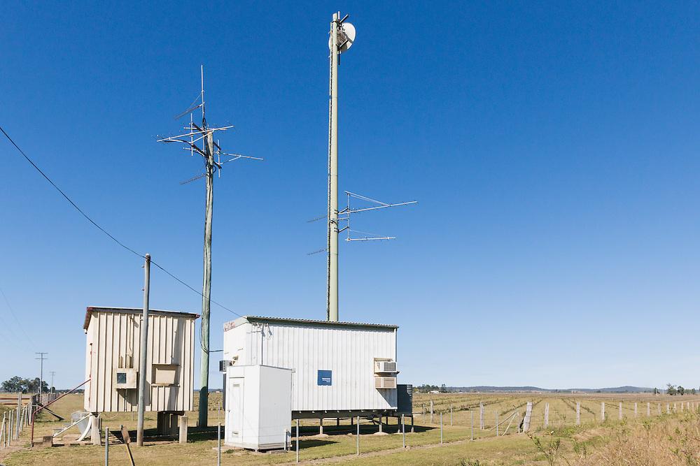 Yagi radio antennas on rural telephone exchange in Gin Gin , Queensland Australia.