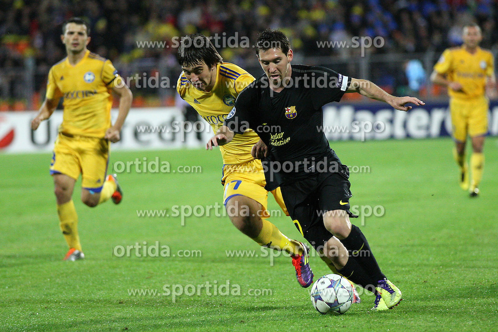 28.09.2011, Haradski Stadion, Minsk, BLR, UEFA CL, Gruppe H, BATE Baryssau vs FC Barcelona, im Bild LEO MESSI // during the UEFA Champions League game, group H, FK BATE Borisov (BLR) vs FC Barcelona (ESP) at Haradski stadium in Minsk, Byelorussia on 2011/09/28. EXPA Pictures © 2011, PhotoCredit: EXPA/ Newspix/ Piotr Kucza +++++ ATTENTION - FOR AUSTRIA/(AUT), SLOVENIA/(SLO), SERBIA/(SRB), CROATIA/(CRO), SWISS/(SUI) and SWEDEN/(SWE) CLIENT ONLY +++++