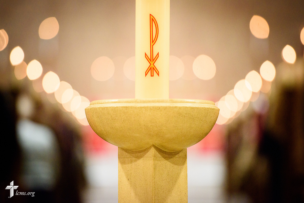 The Christ candle at the 500th Anniversary of the Reformation service on Tuesday, Oct. 31, 2017, at Concordia Theological Seminary, Fort Wayne, Ind. LCMS Communications/Erik M. Lunsford