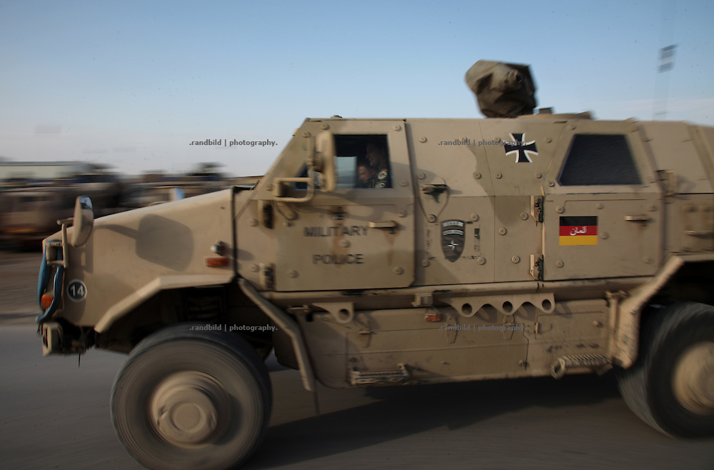 """A armored german military vehicle (""""Dingo"""") drive through the Camp Marmal, Mazar-e Sharif"""