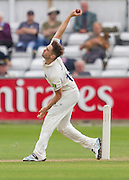 Chris Woakes (Warwickshire County Cricket Club) in action during the LV County Championship Div 1 match between Durham County Cricket Club and Warwickshire County Cricket Club at the Emirates Durham ICG Ground, Chester-le-Street, United Kingdom on 14 July 2015. Photo by George Ledger.