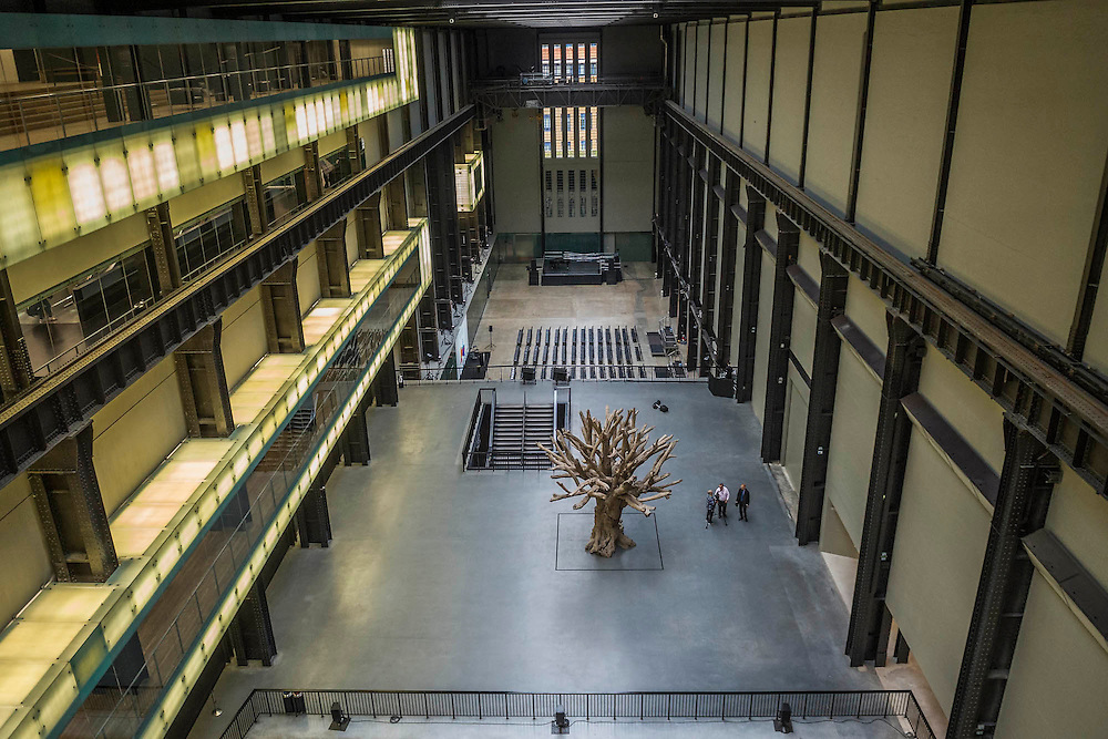 A view of the Turbine hall from the 'Maria and Peter Kellner' bridge which connects the Boiler House to the Switch House - The new Tate Modern will open to the public on Friday 17 June. The new Switch House building is designed by architects Herzog & de Meuron, who also designed the original conversion of the Bankside Power Station in 2000.