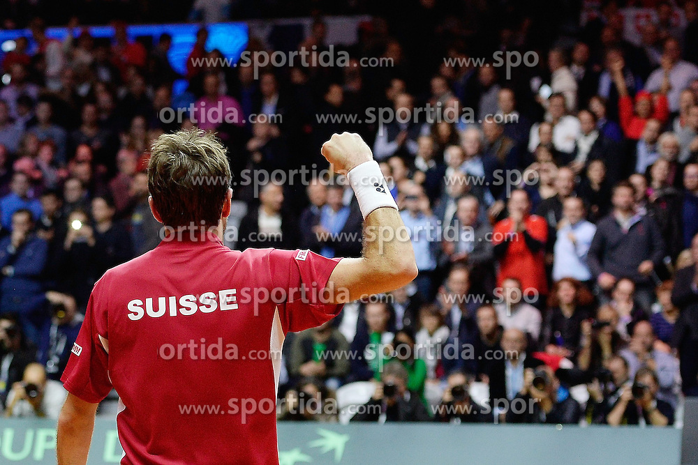 21.11.2014, Stade Pierre Mauroy, Lille, FRA, Davis Cup Finale, Frankreich vs Schweiz, im Bild Stan Wawrinka (SUI) jubelt // during the Davis Cup Final between France and Switzerland at the Stade Pierre Mauroy in Lille, France on 2014/11/21. EXPA Pictures &copy; 2014, PhotoCredit: EXPA/ Freshfocus/ Daniela Frutiger<br /> <br /> *****ATTENTION - for AUT, SLO, CRO, SRB, BIH, MAZ only*****
