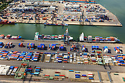 Nederland, Zuid-Holland, Rotterdam, 15-07-2012; Waalhaven met containerterminals en containeroverslag. Detail. .Container storage and transshipment Waalhaven (Waal harbour) of the Port of Rotterdam..luchtfoto (toeslag), aerial photo (additional fee required).foto/photo Siebe Swart