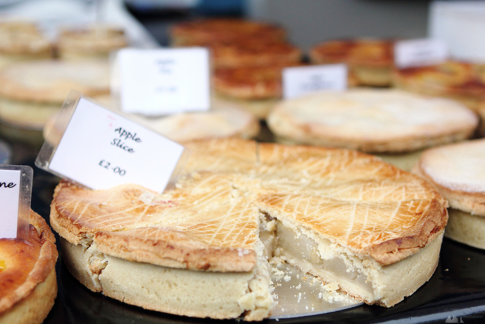 Apple pie for sale at Parsons Green's weekly farmers market
