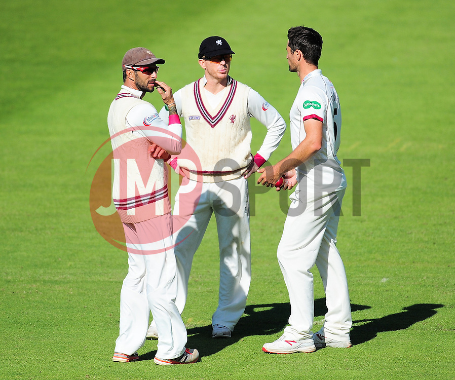 Peter Trego, Chris Rogers and Tim Groenewald of Somerset look on.  - Mandatory by-line: Alex Davidson/JMP - 13/07/2016 - CRICKET - Cooper Associates County Ground - Taunton, United Kingdom - Somerset v Middlesex - Day 4 - Specsavers County Championship Division One