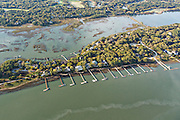 Aerial view of luxury homes and docks along Eagle Point in Kiawah Island, SC.