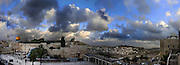 Israel, Jerusalem Old City, Panoramic view of Temple Mount Wailing Wall, Dome of the Rock and Al-Aqsa Mosque