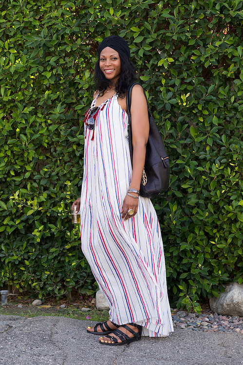 Turban and Striped Dress, MAC and Mia Moretti Coachella Party 2015