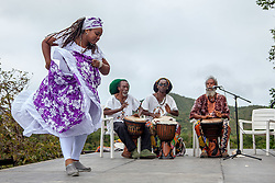 "Allegra Christopher of Mascilyn Bamboula Dance Company performs the Bamboula accompanied by the Echo People.  The Virgin Islands National Park Service presents the 26th Annual Folk-life Festival ""Celebrating Transfer Day from the Danish West Indies to the United States Virgin Islands""  Annaberg Sugar Plantation Ruins.  23 February 2017.  © Aisha-Zakiya Boyd"