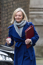 Downing Street, London, February 11th 2016. Environment Food and Rural Affairs Secretary Elizabeth Truss attends the weekly cabinet meeting. <br /> ©Paul Davey<br /> FOR LICENCING CONTACT: Paul Davey +44 (0) 7966 016 296 paul@pauldaveycreative.co.uk