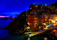 """Dusk falls over the harbor of Riomaggiore""... <br />