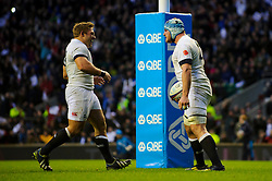 England replacement (#20) Ben Morgan (Gloucester Rugby) celebrates scoring a try with replacement (#16) Tom Youngs (Leicester Tigers) during the second half of the match - Photo mandatory by-line: Rogan Thomson/JMP - Tel: Mobile: 07966 386802 09/11/2013 - SPORT - RUGBY UNION -  Twickenham Stadium, London - England v Argentina - QBE Autumn Internationals.